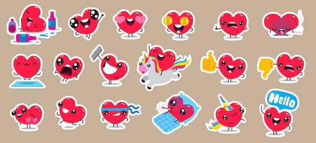 Set patch badges en stickers met schattige harten karakters. ontwerp. Premium Vector