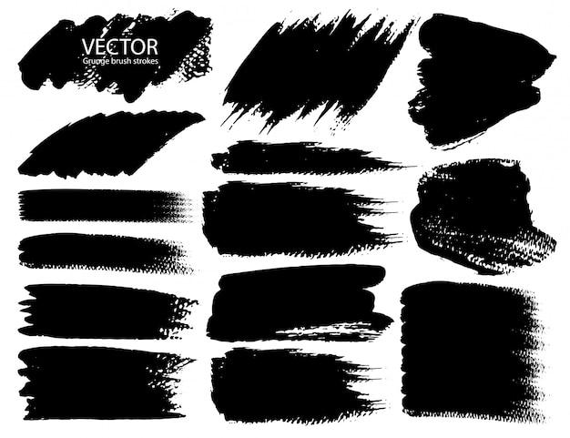 Set penseelstreken Premium Vector