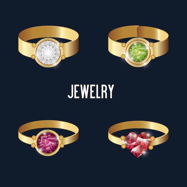 Set pictogrammen ringen gouden edelstenen geïsoleerd Premium Vector