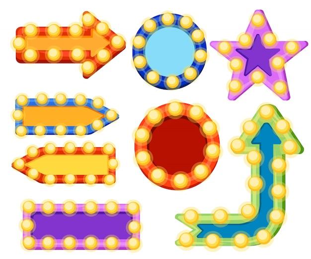Set pijl borden met elektrische gloeilampen gloeiende pijl met lampen retro banner collectie illustratie op witte achtergrond website-pagina en mobiele app Premium Vector