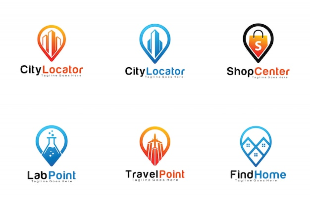 Set pin locatie logo's Premium Vector
