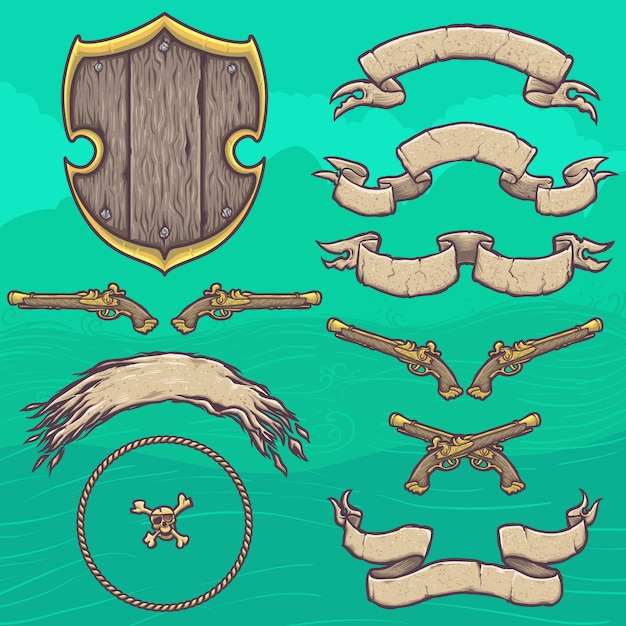 Set pirate shield ontwerpelementen Premium Vector