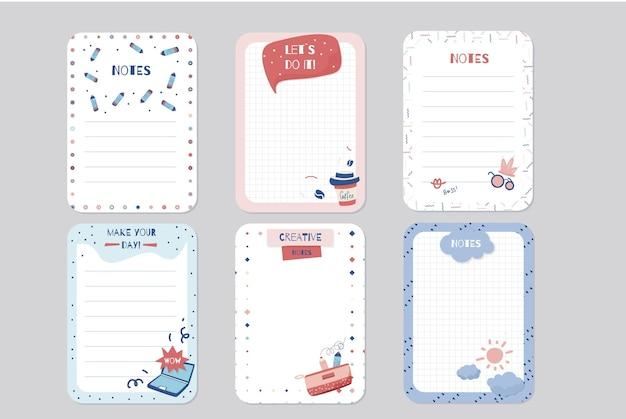 Set plakboeknotities en kaarten Premium Vector