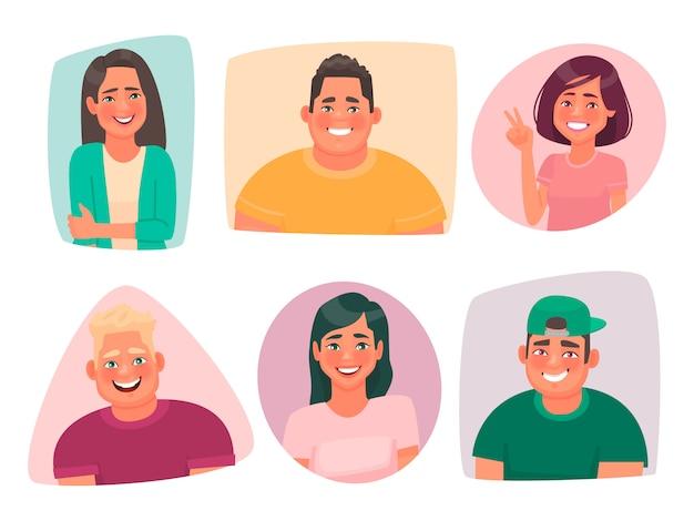Set portretten van jonge gelukkige mensen. avatars van lachende jongens en meisjes van studenten. blije karakters van mannen en vrouwen Premium Vector