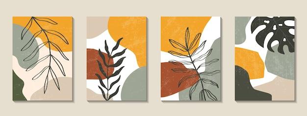 Set posters met elementen van tropische bladeren en abstracte vormen Premium Vector