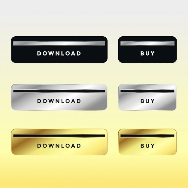 Set premium download en koop metalen knopen Gratis Vector