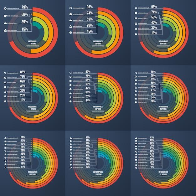 Set presentatie informatieve infographic cirkelgrafieken Premium Vector