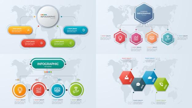 Set presentatie zakelijke infographic sjablonen met optie 4 Premium Vector