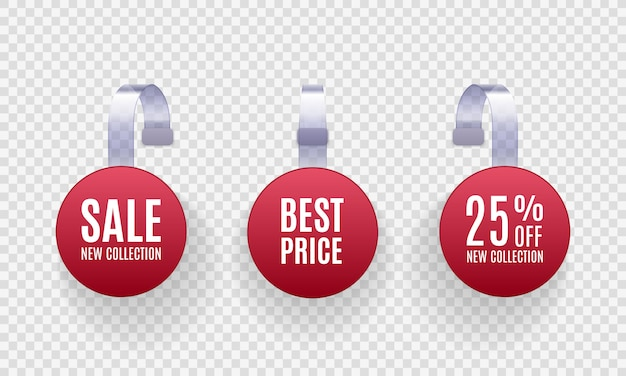 Set realistische gedetailleerde rode weifelaar promotie verkoop etiketten op een transparante achtergrond. kortingssticker, speciale aanbieding, plastic prijsbanner, label voor je. Premium Vector