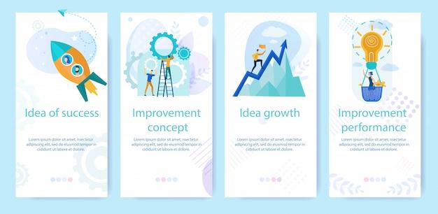 Set reclame poster geschreven idee van succes. Premium Vector
