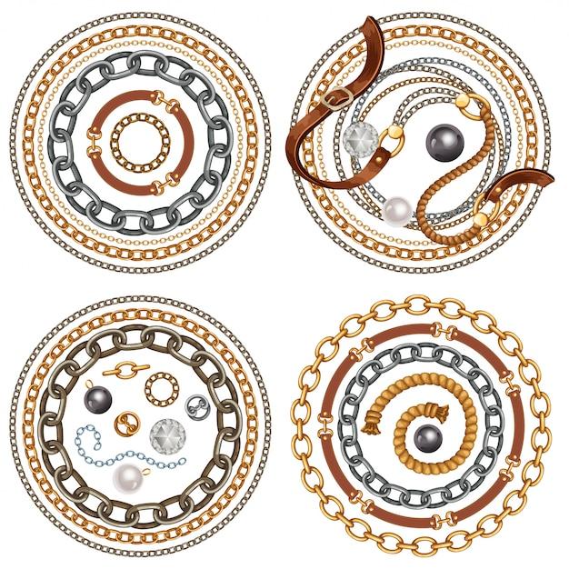 Set riemen en gouden en zilveren kettingen Premium Vector