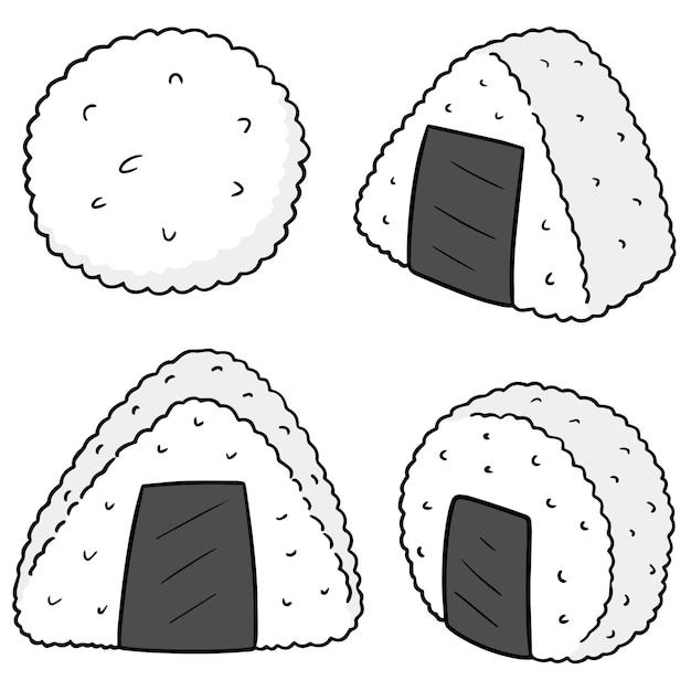 Set rijstbal Premium Vector