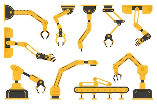 Set robothandgereedschap of industriële lasrobots in een fabriek van een productielijnfabrikant. fabricage-industrie mechanische robotarm, machinetechnologie, fabrieksmachinehanden. . Premium Vector