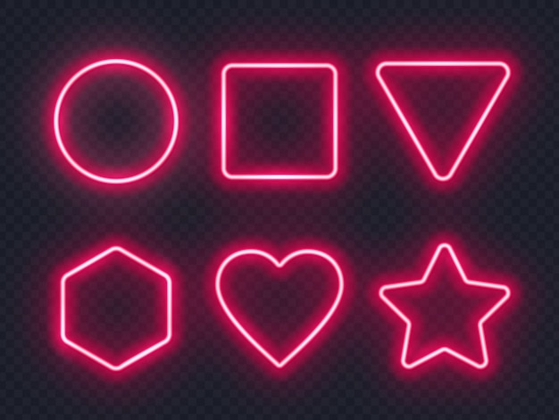Set rood gloeiende neon frames Premium Vector