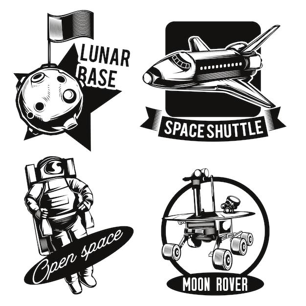 Set ruimte emblemen Gratis Vector