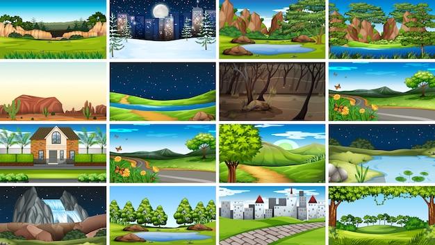 Set scènes achtergrond in de natuur instelling Gratis Vector