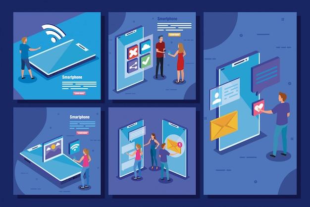 Set scènes met pictogrammen voor smartphones en sociale media Gratis Vector