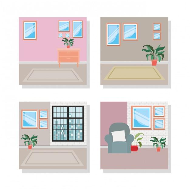 Set scènes van huis binnenplaatsen Premium Vector