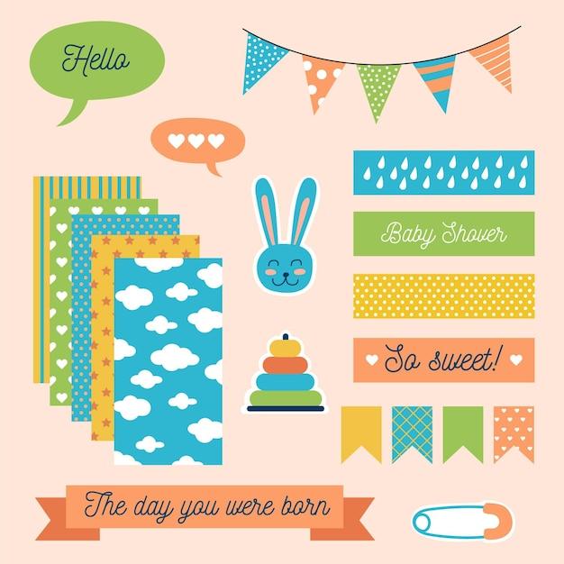 Set schattige baby shower plakboekelementen Gratis Vector