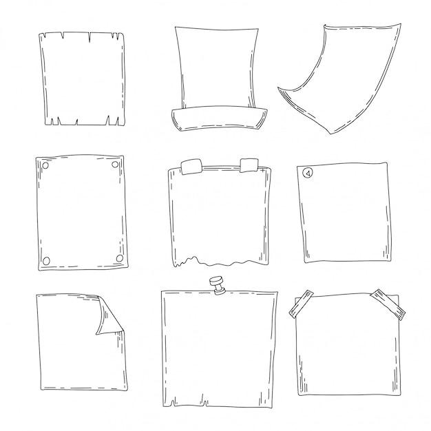 Set schets notebooks, blocnotes en dagboeken. kantoorspullen. hand tekening schets Premium Vector
