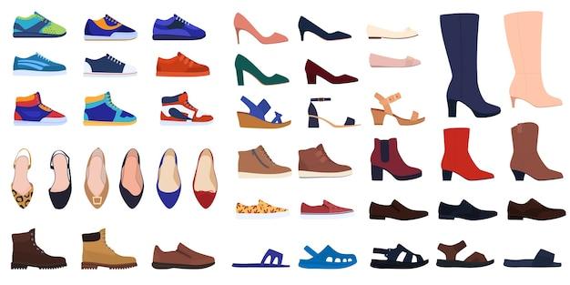 Set schoenen. herenschoenen en damesschoenen. schoenen voor alle seizoenen. sneakers, schoenen, laarzen, sandalen, slippers. Premium Vector