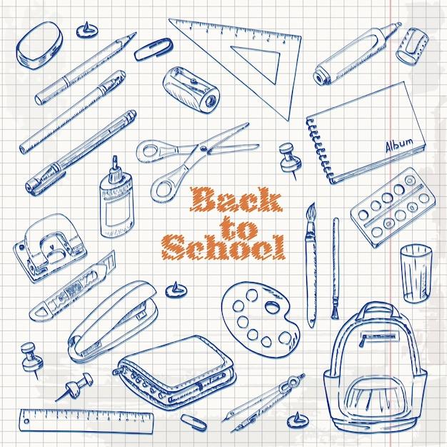 Set school objecten in schets stijl Premium Vector