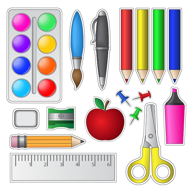 Set schoolhulpmiddelen en benodigdheden Premium Vector