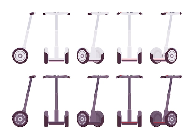 Set segways in witte en grijze kleuren Premium Vector