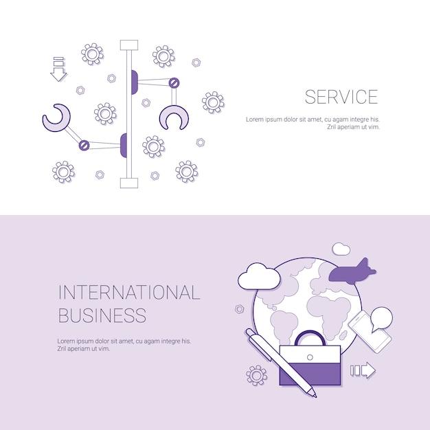 Set service en international business banners concept sjabloon achtergrond met kopie ruimte Premium Vector