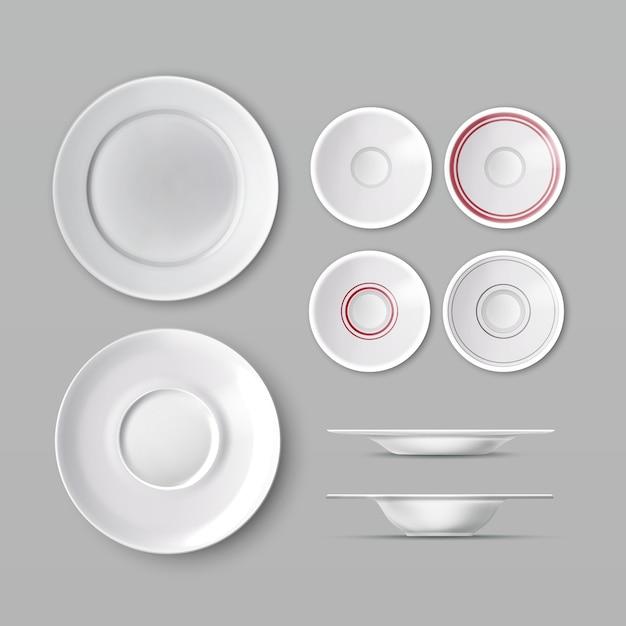 Set serviesgoed met witte lege borden Gratis Vector