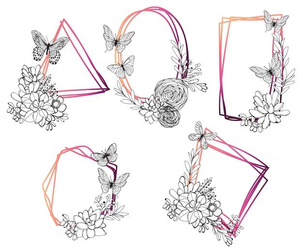 Set sier vintage frames. hand getrokken inkt illustratie op witte achtergrond Premium Vector