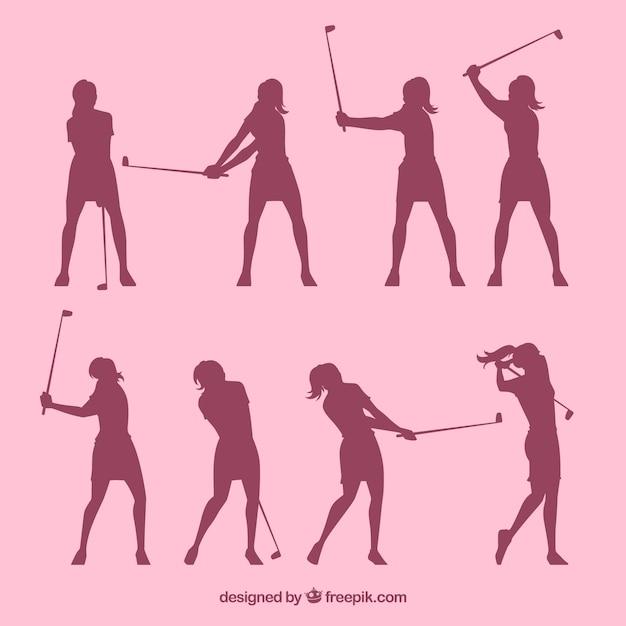 Set silhouetten golf vrouwen Gratis Vector
