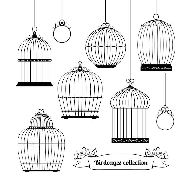 Set silhouetten van verschillende vormen van vogelkooien. Gratis Vector