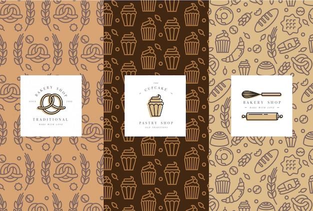 Set sjablonen en elementen voor bakkerijverpakkingen in trendy schets lineaire stijl. Premium Vector