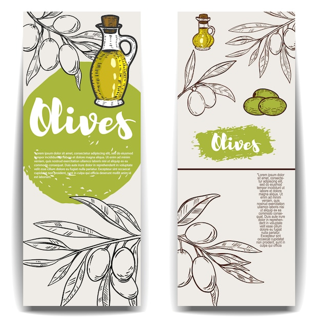 Set sjablonen voor olijfolie flyers. element voor poster, kaart, embleem, teken, label. illustratie Premium Vector