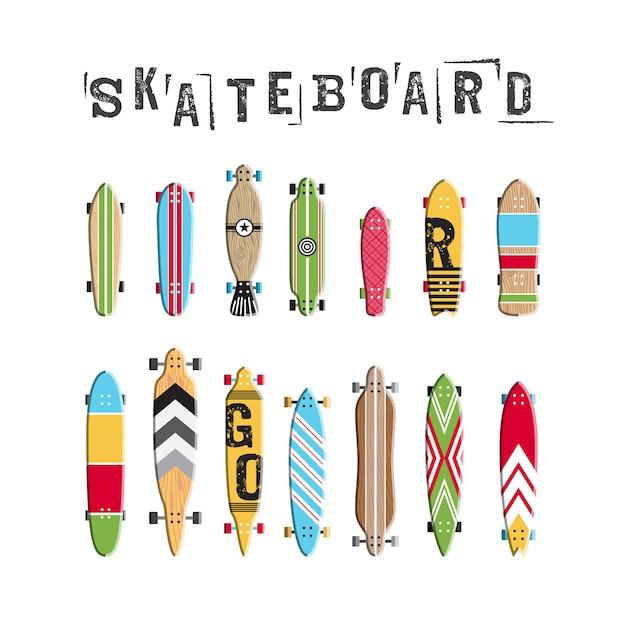 Set skateboard collectie Premium Vector