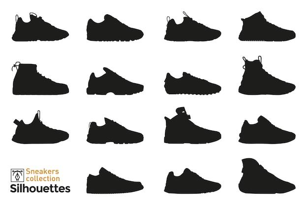 Set sneakers silhouetten voor man en vrouw. mode-elementen. kleding schoenen pictogrammen voor. Premium Vector