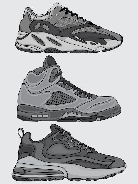 Set sneakers Premium Vector