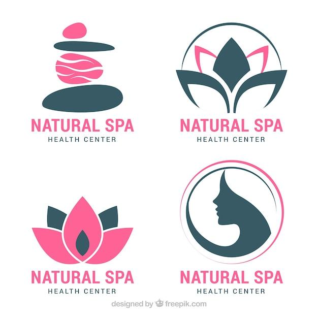 Set spa-logo's in vlakke stijl Gratis Vector