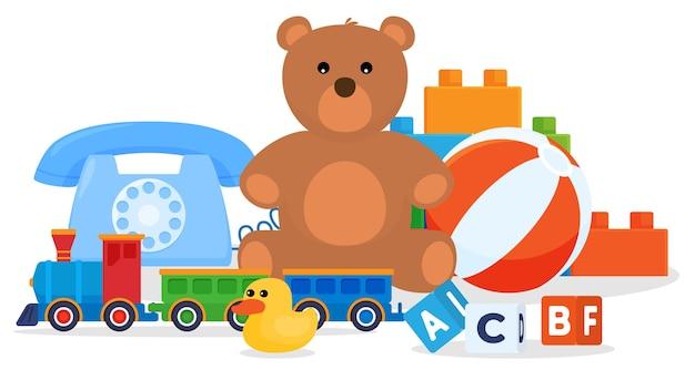 Set speelgoed. spelletjes voor kinderen. zacht speelgoed, auto's, poppen. Premium Vector