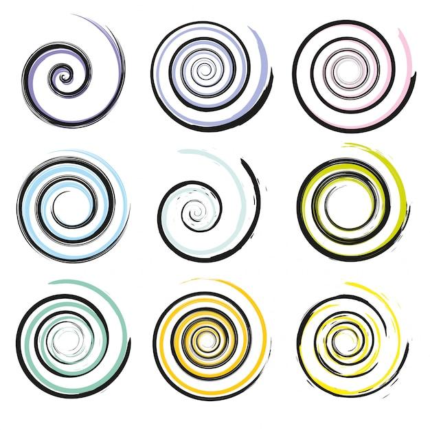 Set spiraal en swirl bewegingselementen Premium Vector