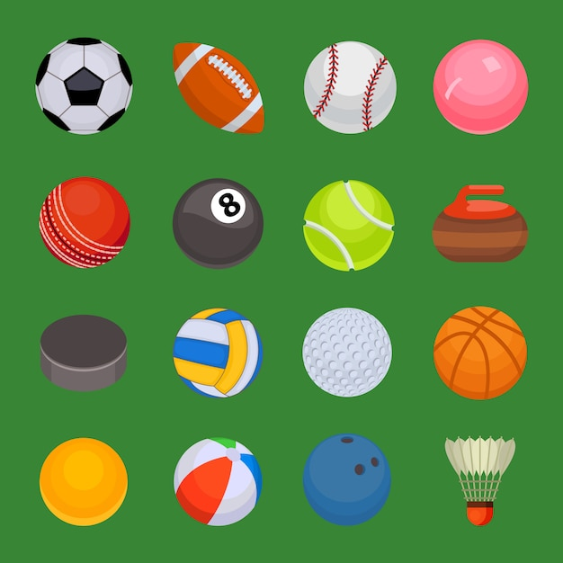 Set sport ballen geïsoleerde vector. Premium Vector