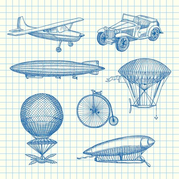 Set steampunk hand getekende luchtschepen, fietsen en auto's op papier blad illustratie Premium Vector