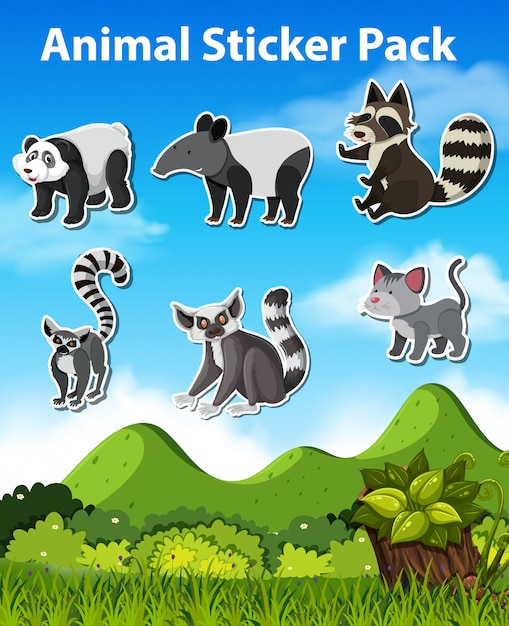 Set stickerpakket animal Premium Vector