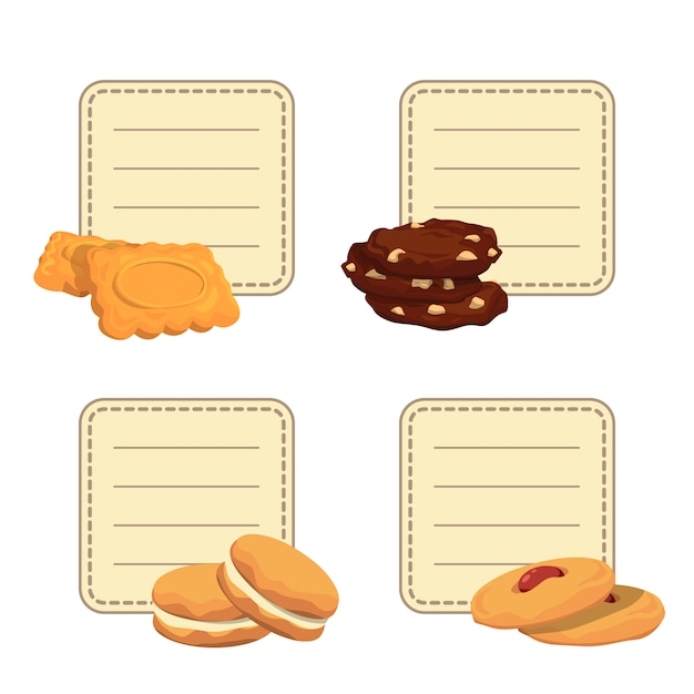 Set stickers met plaats voor tekst met cartoon cookies Premium Vector