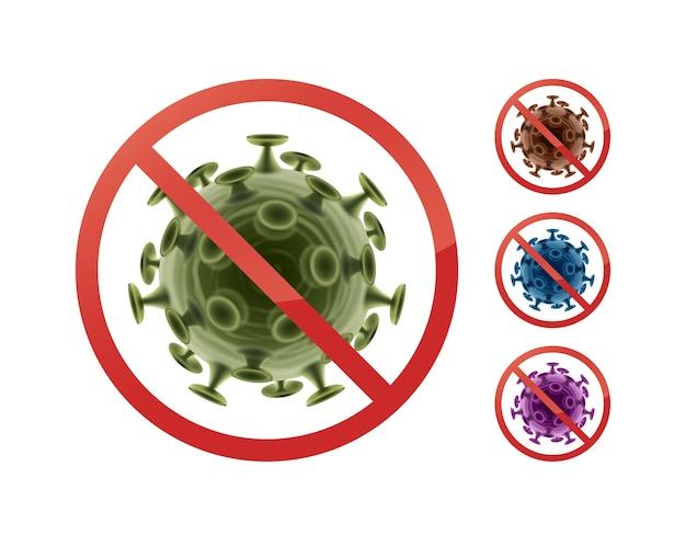 Set stop verbieden borden op bacteriën close-up vooraanzicht geïsoleerd op een witte achtergrond Gratis Vector