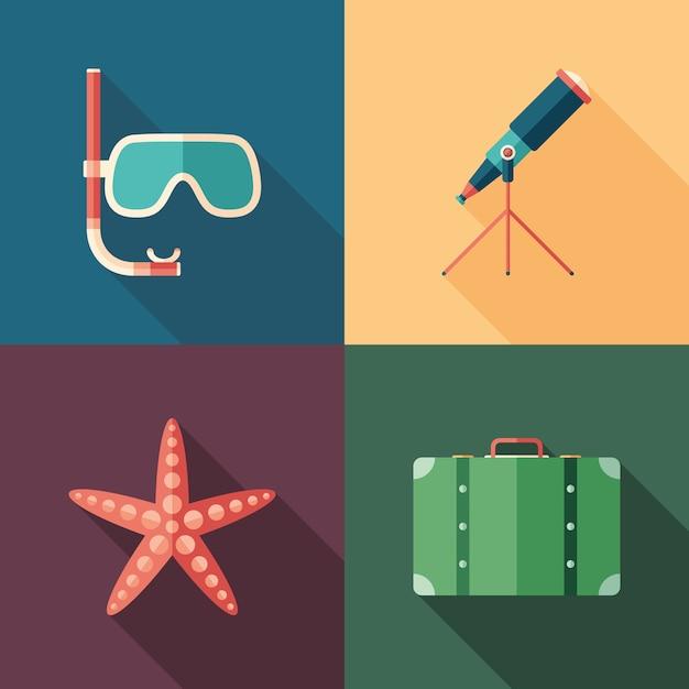 Set strand platte vierkante pictogrammen Premium Vector