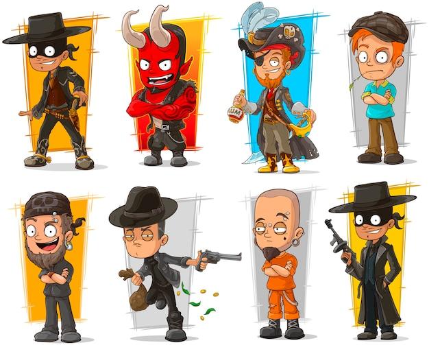 Set stripfiguren bad guys Premium Vector