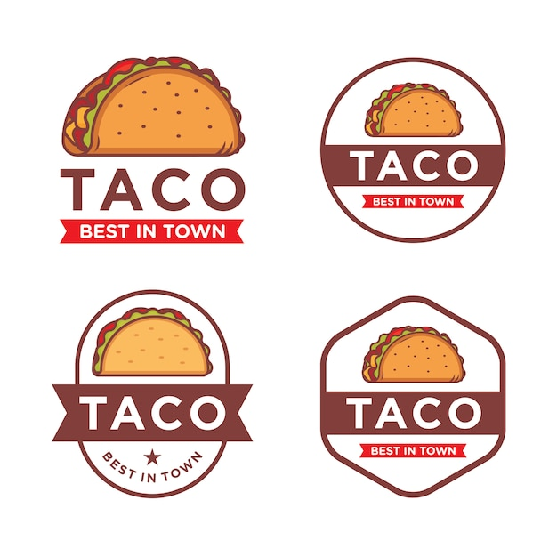 Set taco logo sjabloon Premium Vector