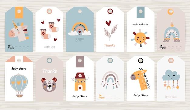Set tags met babyartikelen voor illustratie van meisje en jongen Premium Vector